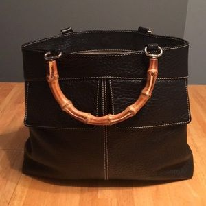 Barney black leather handbag with bamboo handles